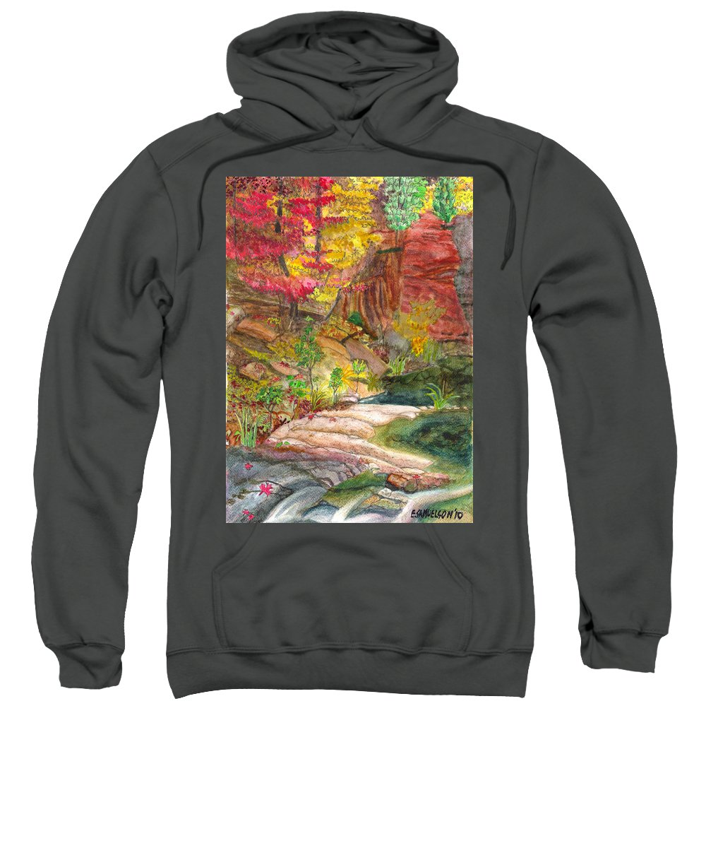 Red Maple Sweatshirt featuring the painting Oak Creek West Fork by Eric Samuelson