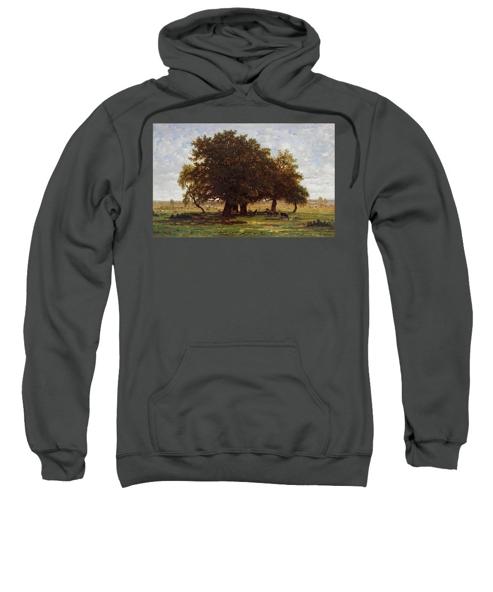 Animal Sweatshirt featuring the painting Oak Grove, Apremont by Theodore Rousseau