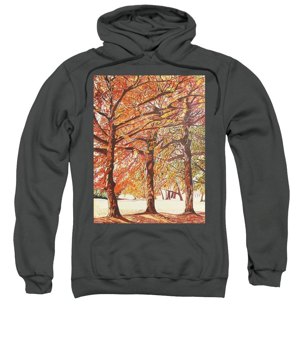 Valentine Magutsa Sweatshirt featuring the painting Oak Trees In The Park by Valentine Magutsa