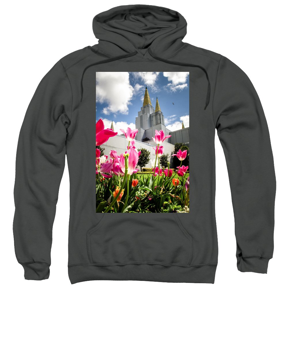 Oakland Temple Photography Sweatshirt featuring the photograph Oakland Pink Tulips by La Rae Roberts