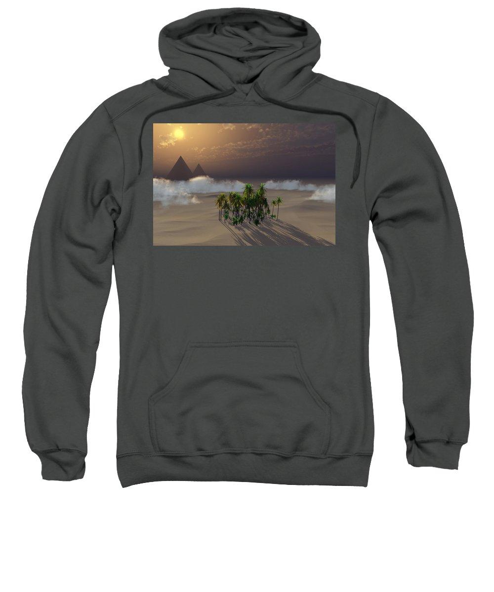 Deserts Sweatshirt featuring the digital art Oasis by Richard Rizzo
