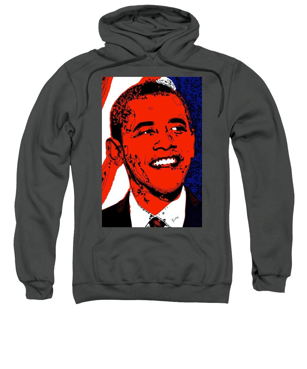 African Sweatshirt featuring the digital art Obama Hope by Rabi Khan