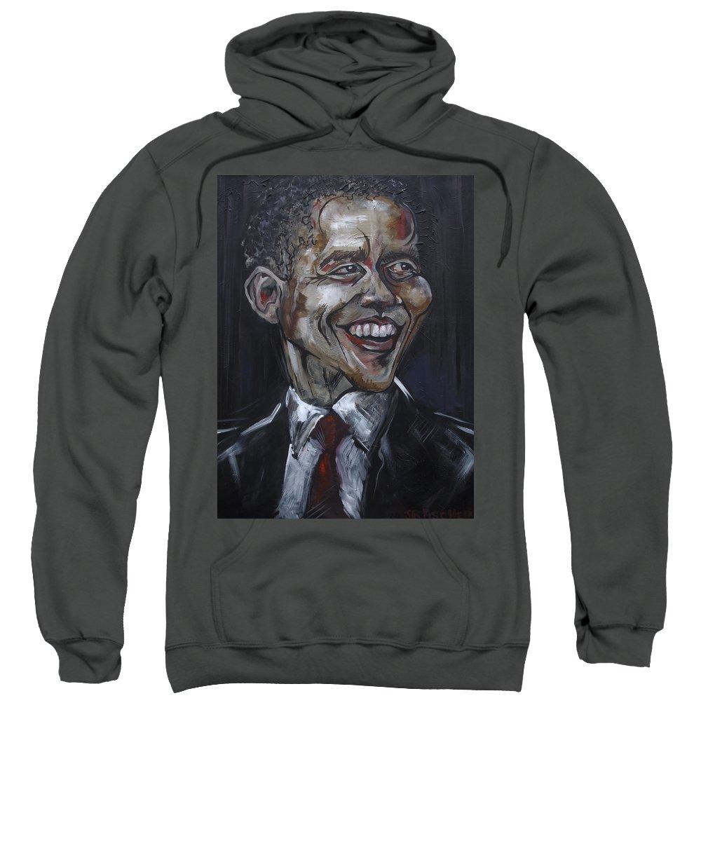 Barack Obama Sweatshirt featuring the painting Obama by Julie Fischer