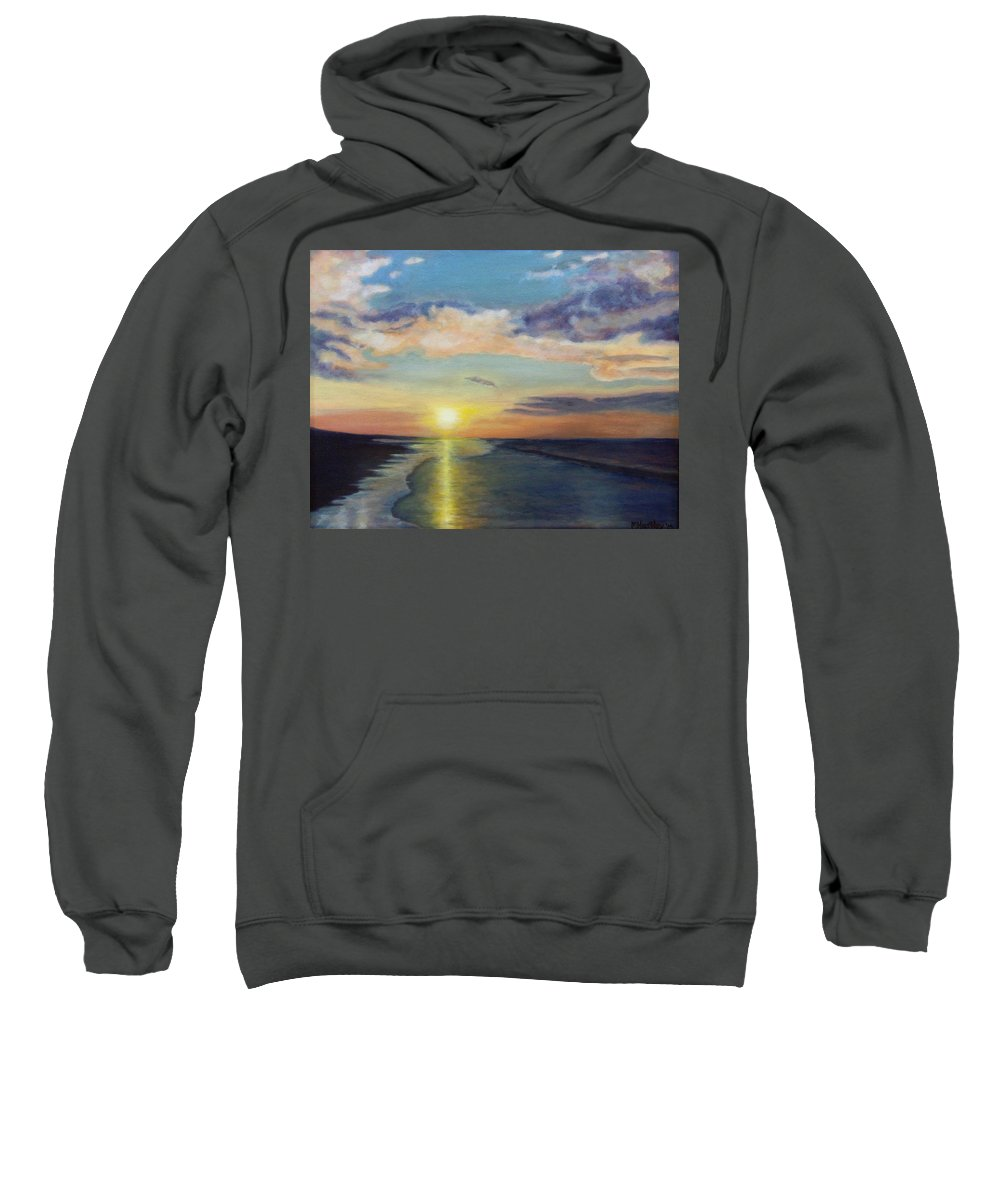 Ocean Sweatshirt featuring the painting Ocean Sunset by Mike Hartley