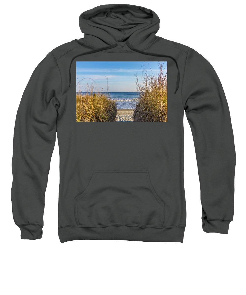 Ocean Sweatshirt featuring the photograph Ocean Through The Dunes by Scott Kwiecinski