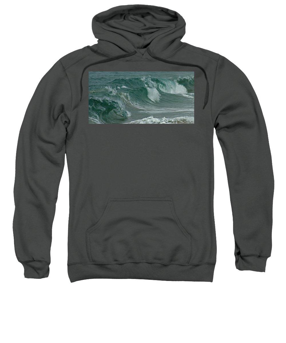 Ocean Sweatshirt featuring the mixed media Ocean Waves 2 by Ernie Echols