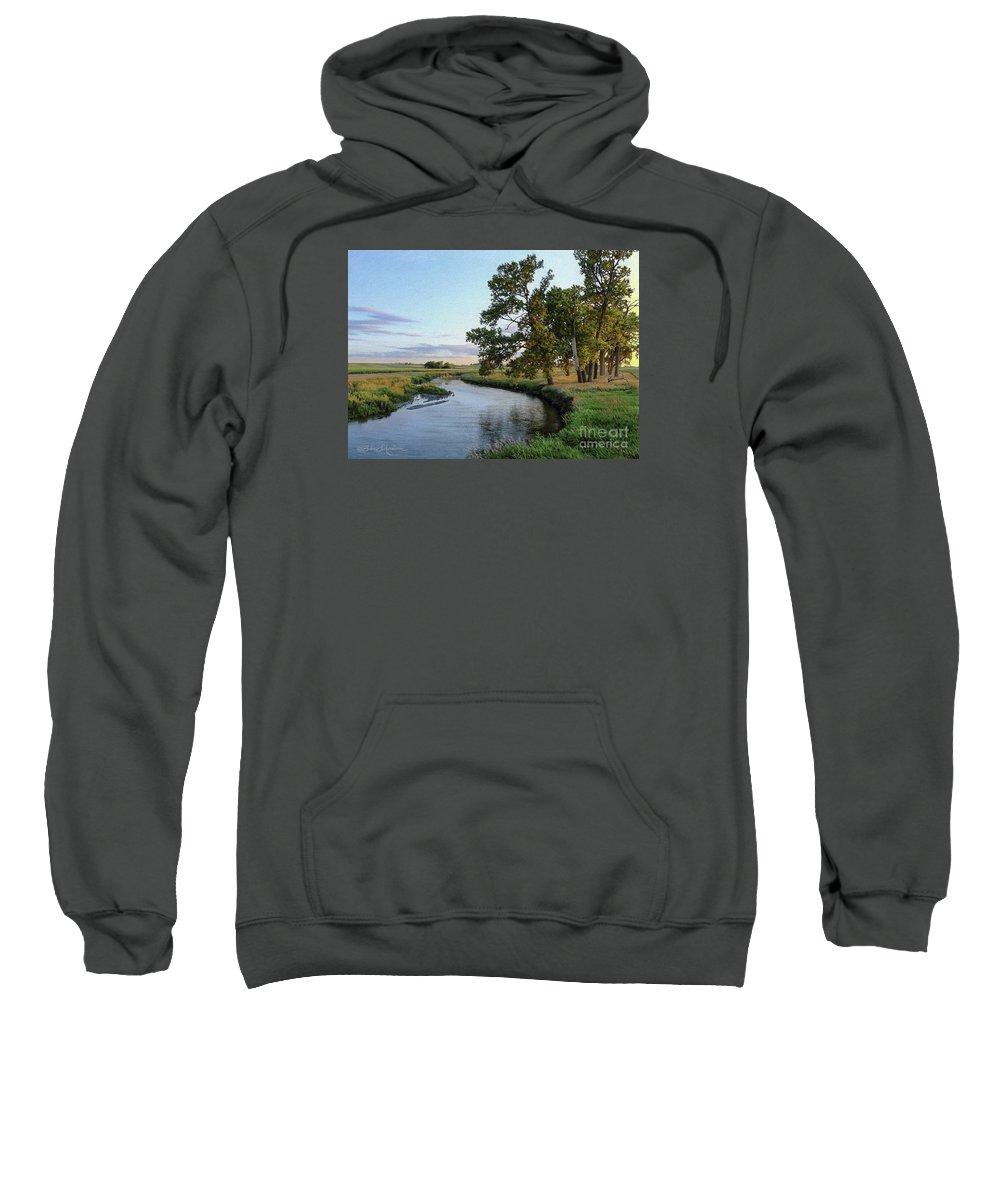 Ocheyedan Sweatshirt featuring the drawing Ocheyedan Evening by Bruce Morrison