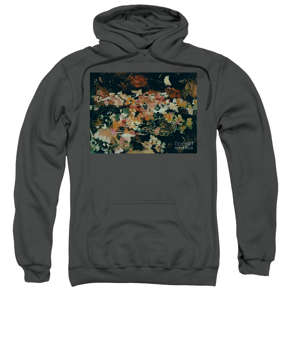 Abstract Gouache Flower Painting Sweatshirt featuring the painting October Flowers By Night by Nancy Kane Chapman