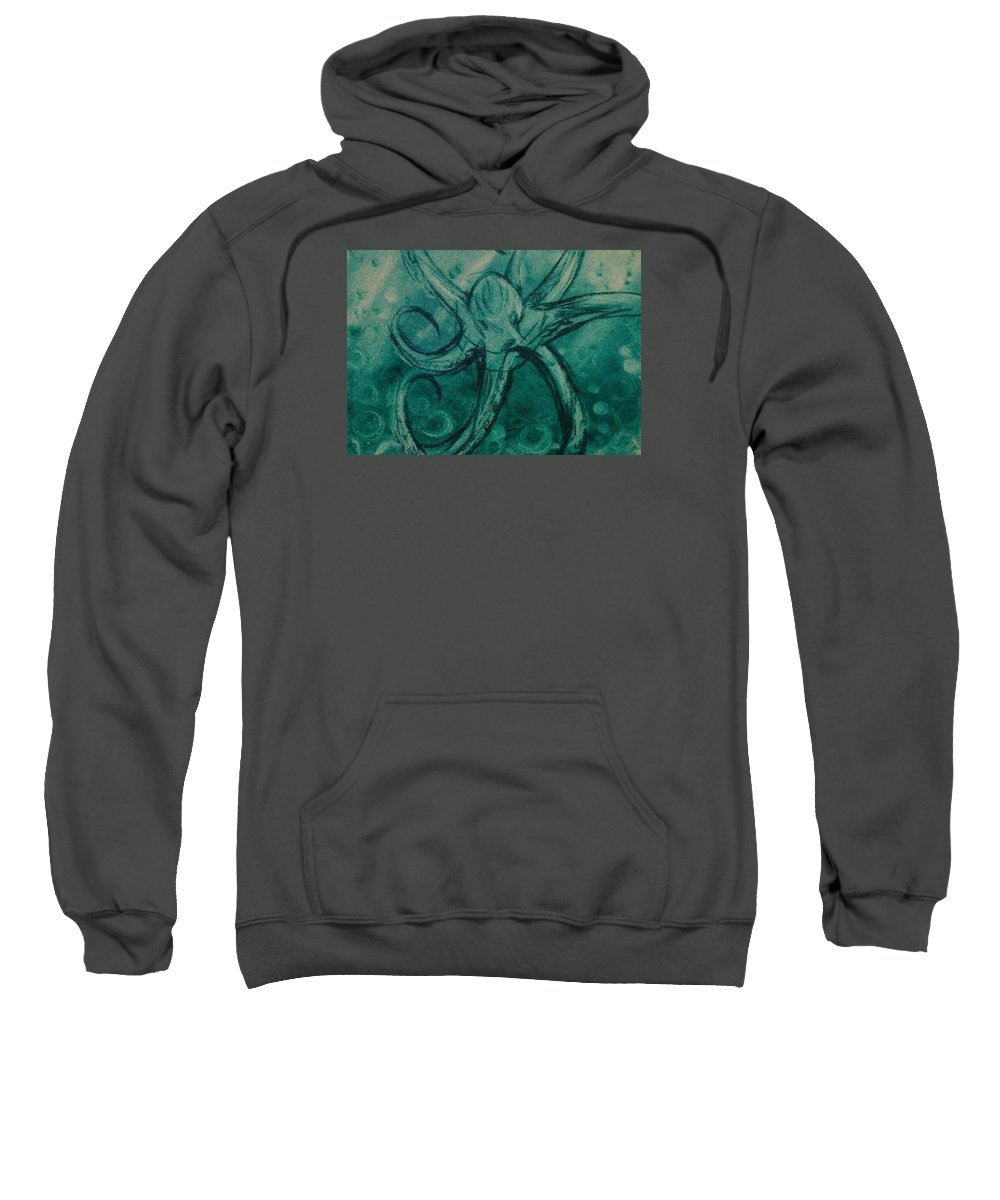 Drypoint Etching Octopus Sea Turquoise Sweatshirt featuring the drawing Octopus by Sylvie Boersma