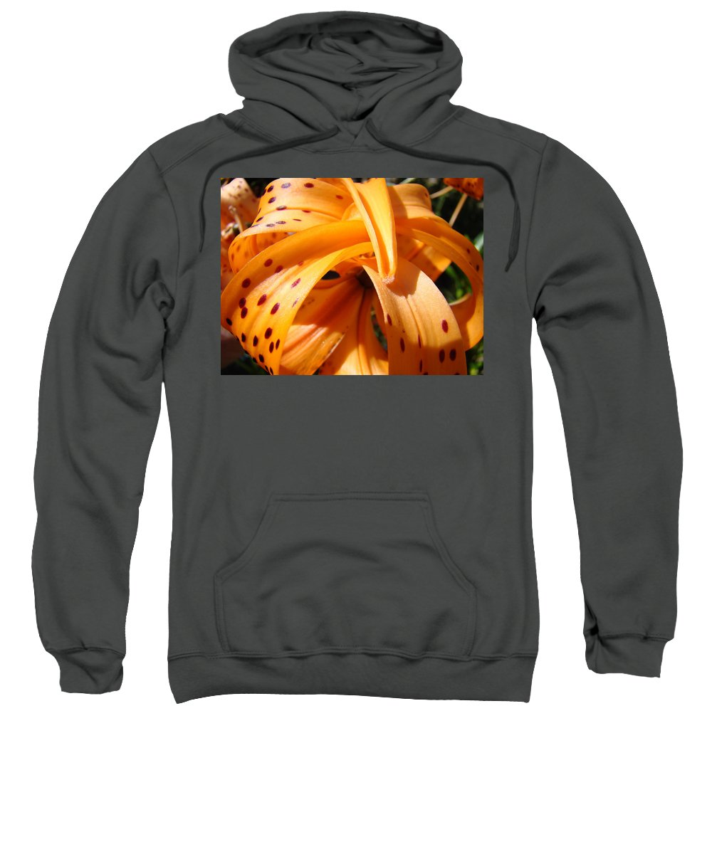 Lilies Sweatshirt featuring the photograph Office Art Floral Artwork Orange Tiger Lily Baslee Troutman by Baslee Troutman