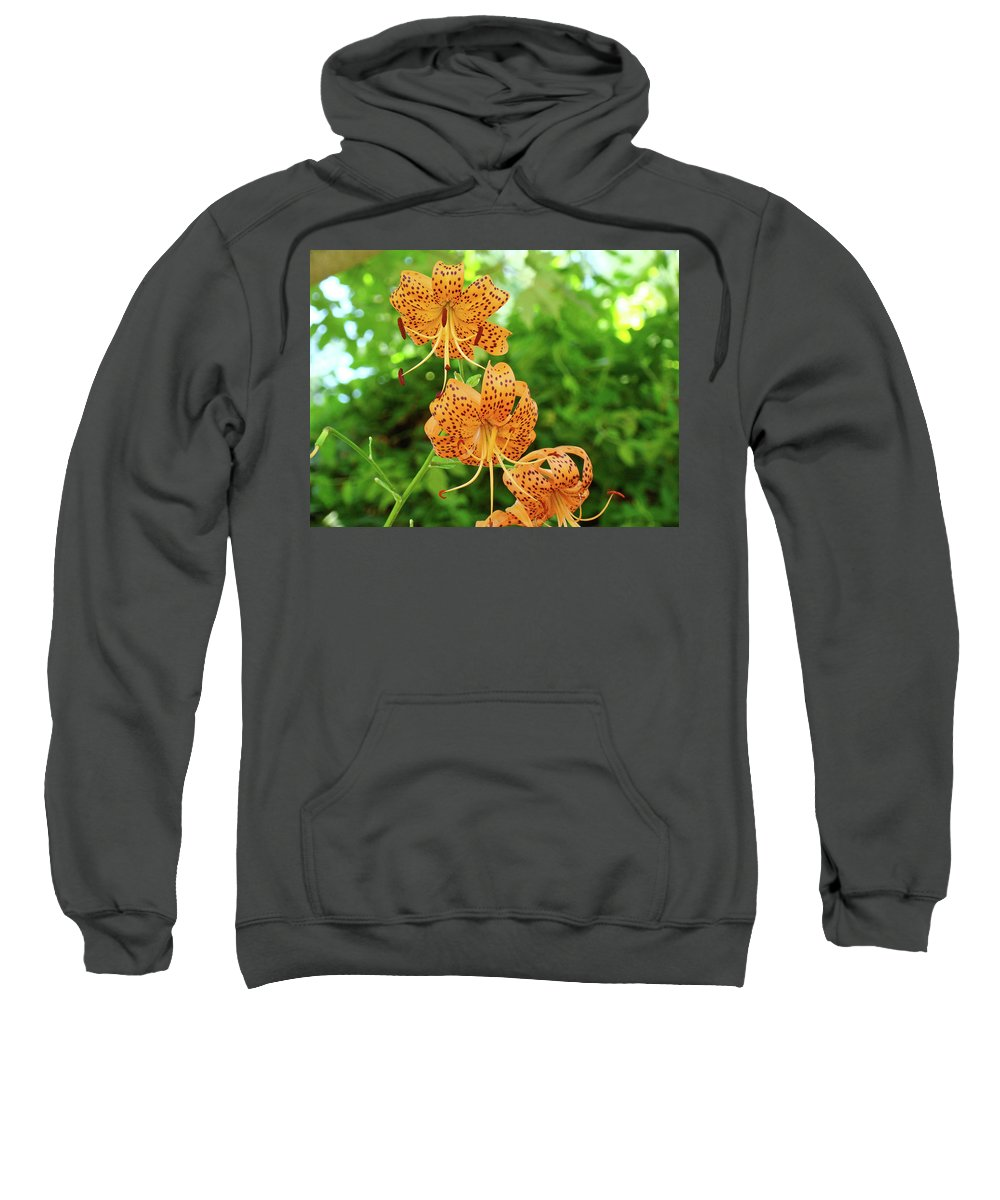 Lilies Sweatshirt featuring the photograph Office Art Prints Tiger Lilies Flowers Nature Giclee Prints Baslee Troutman by Baslee Troutman