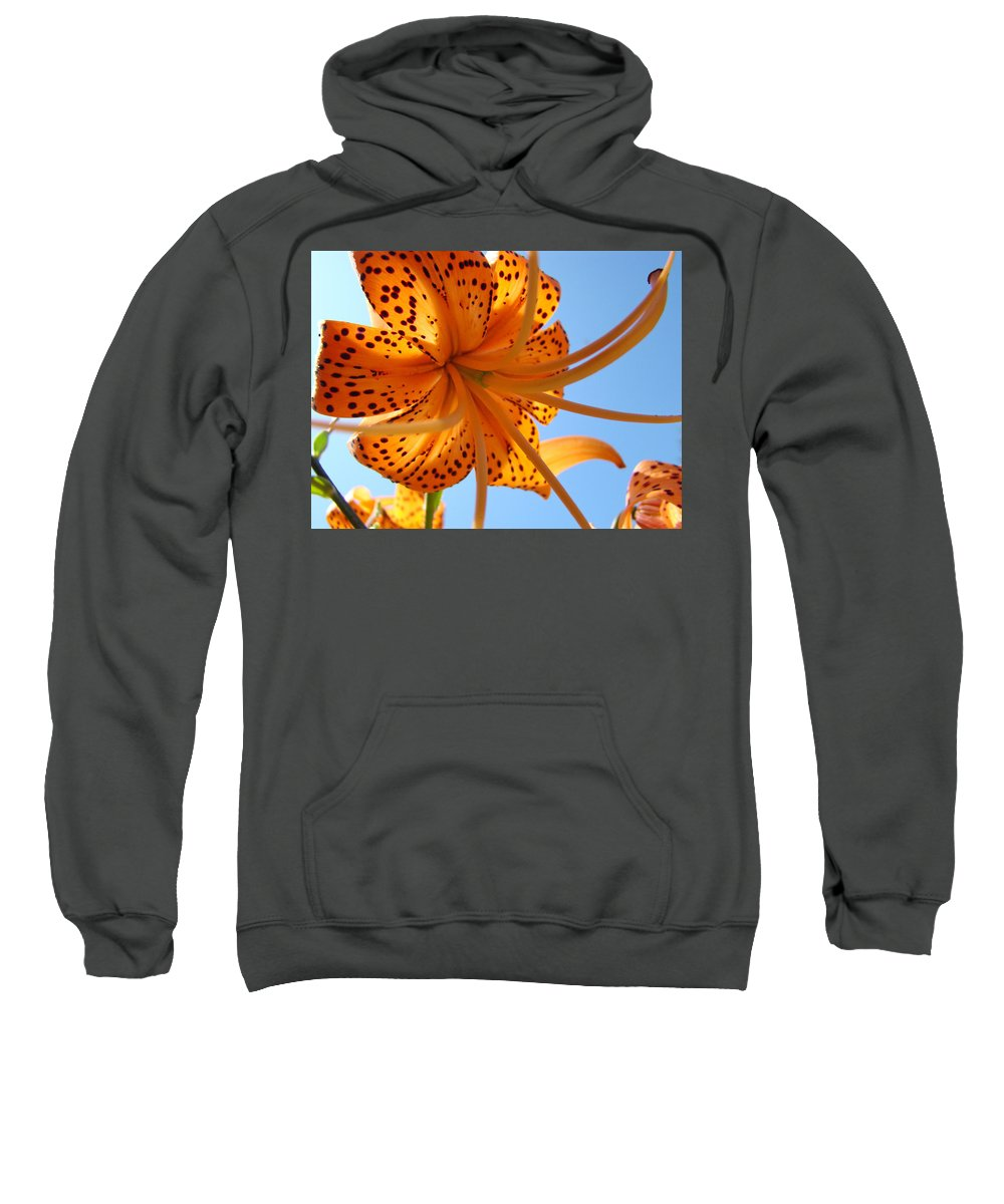 Lilies Sweatshirt featuring the photograph Office Artwork Tiger Lily Flowers Art Prints Baslee Troutman by Baslee Troutman