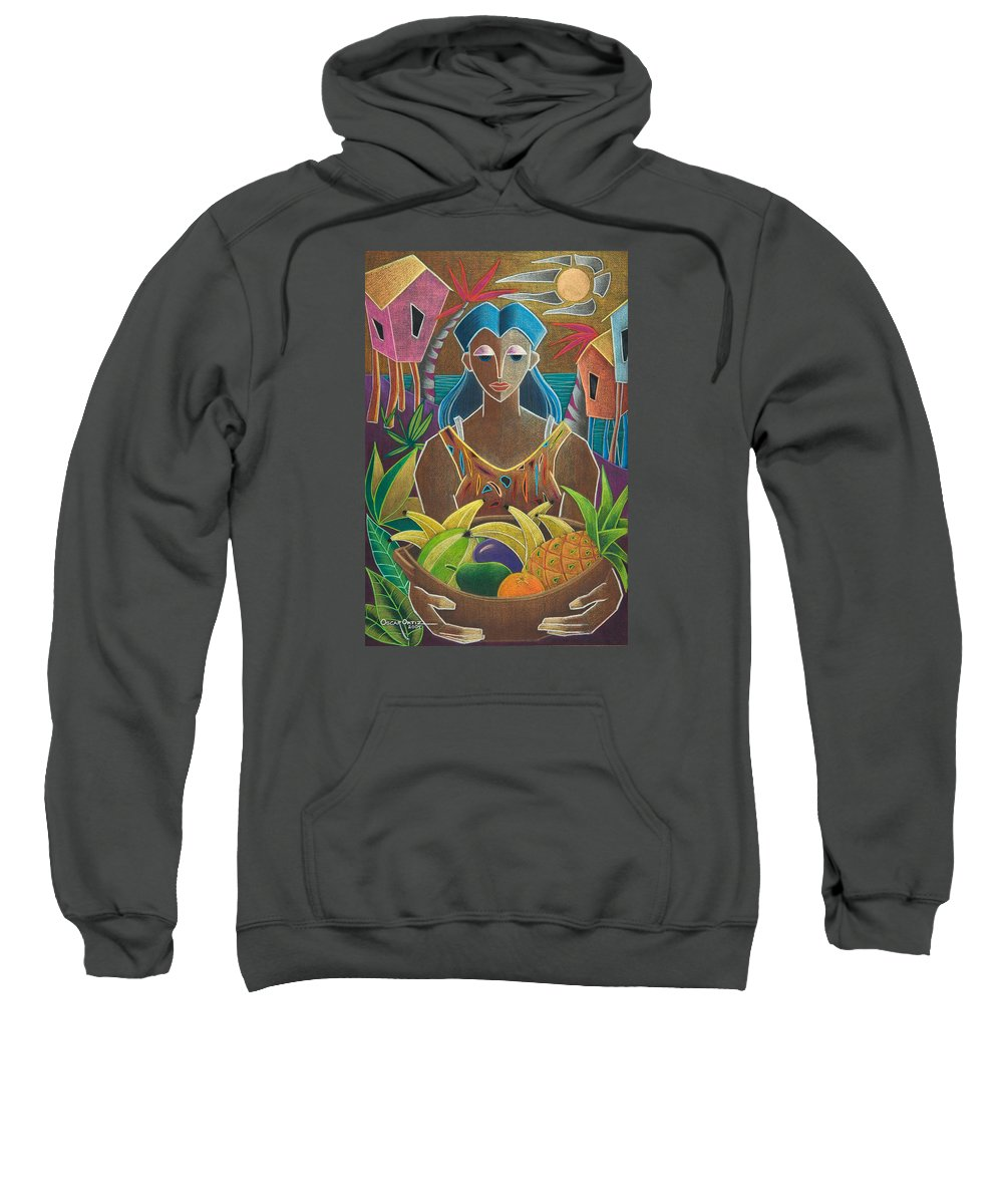 Female Sweatshirt featuring the painting Ofrendas De Mi Tierra by Oscar Ortiz