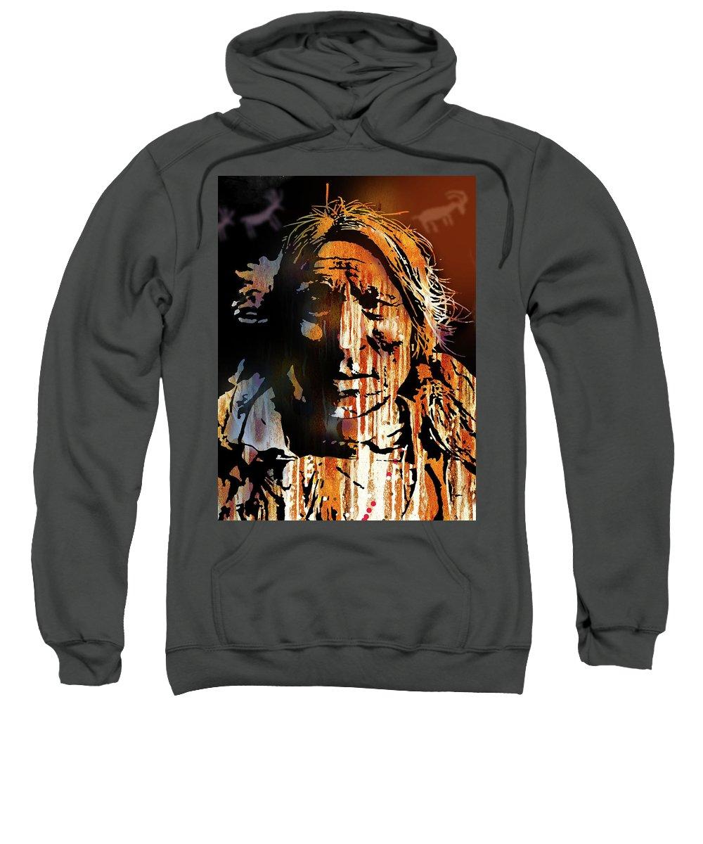 Native Americans Sweatshirt featuring the painting Oglala Warrior by Paul Sachtleben