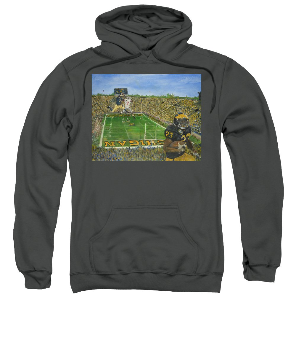 Michigan Sweatshirt featuring the painting Ohio State Vs. Michigan 100th Game by Travis Day