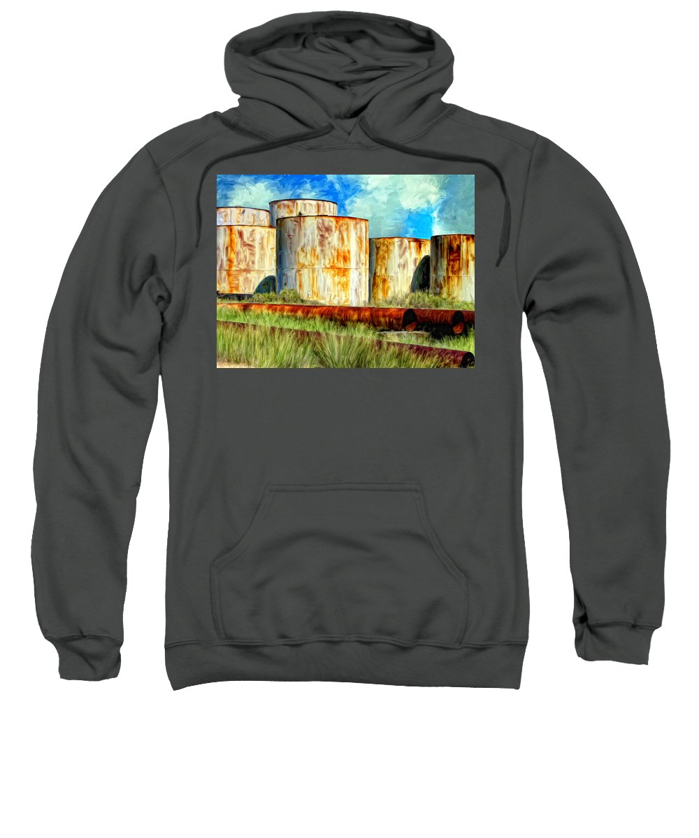 Oil Tanks Sweatshirt featuring the painting Oil Tanks by Dominic Piperata