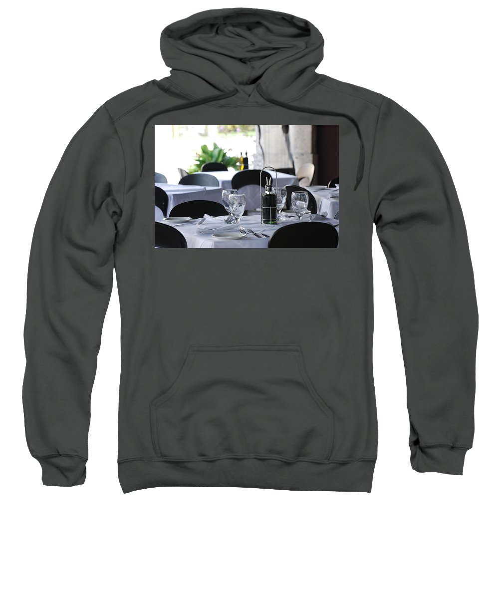 Tables Sweatshirt featuring the photograph Oils And Glass At Dinner by Rob Hans