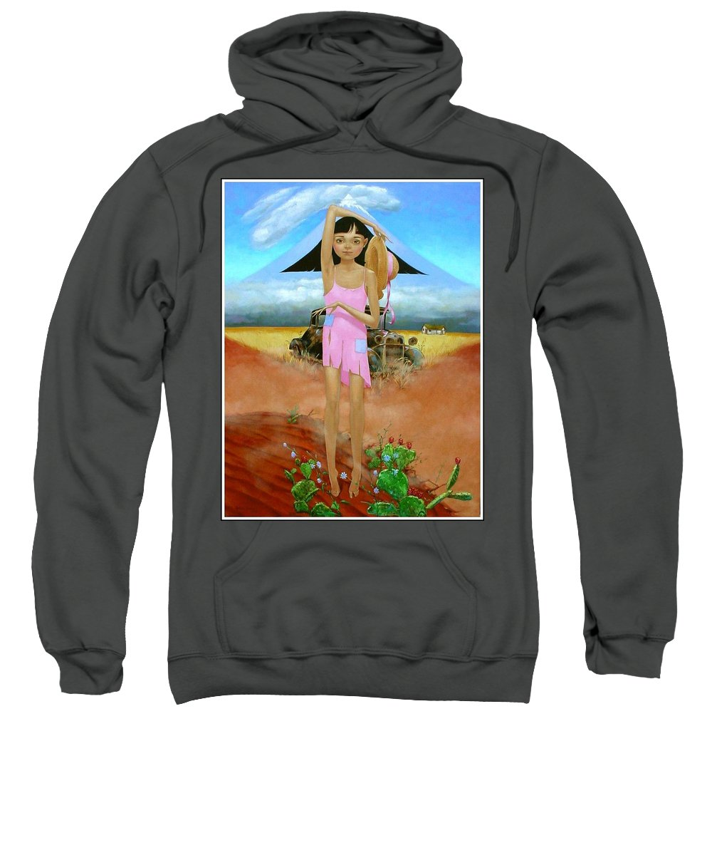 Country Girl Sweatshirt featuring the painting Oklahoma Girl With Mt.fuji by Jerrold Carton