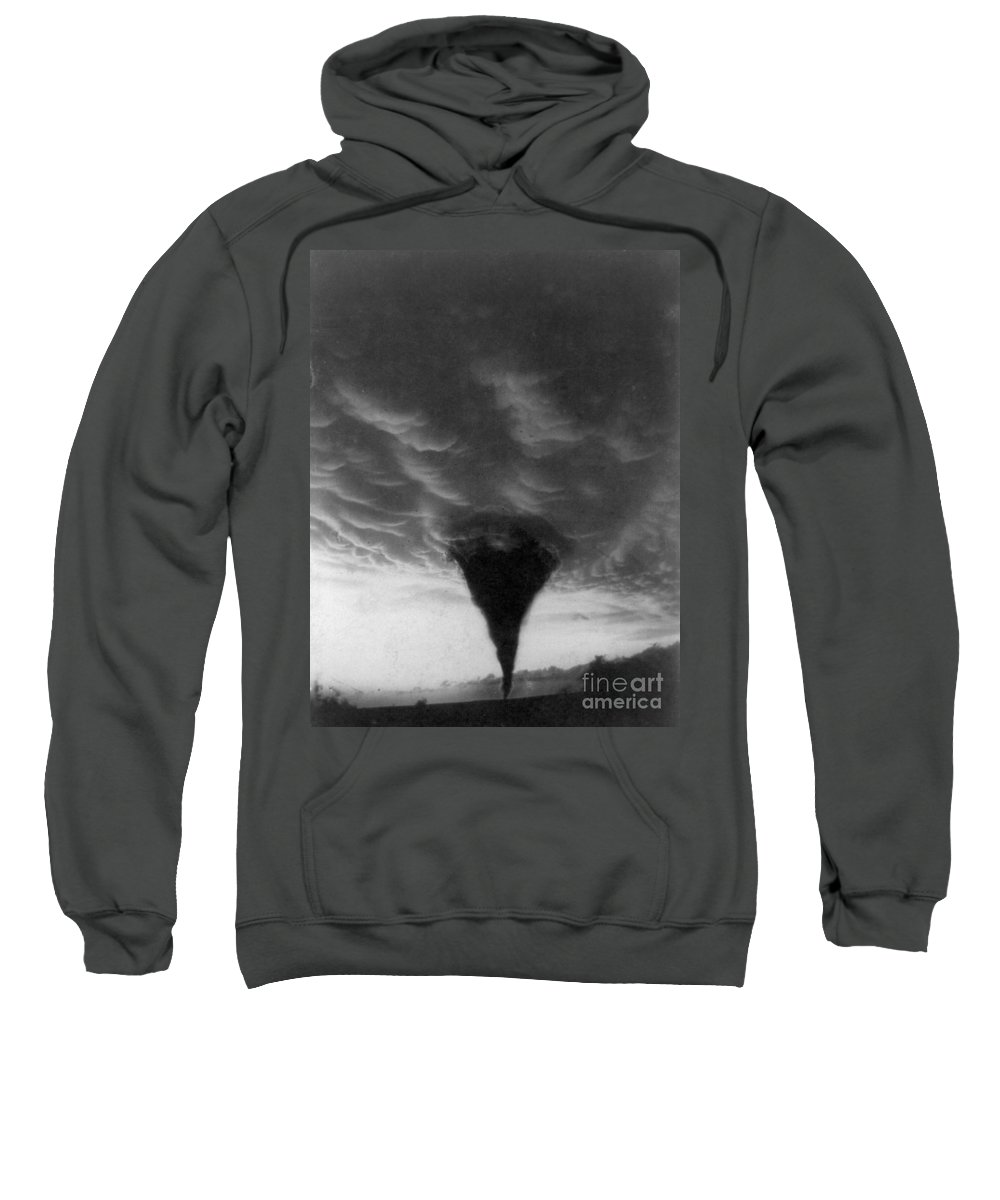 1898 Sweatshirt featuring the photograph Oklahoma Tornado, C1898 - To License For Professional Use Visit Granger.com by Granger