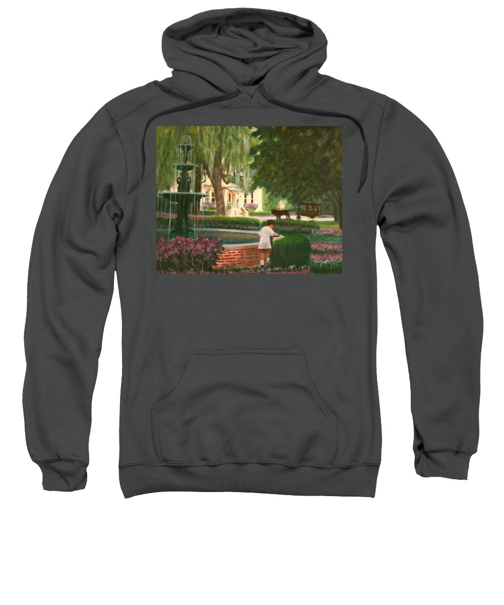 Savannah; Fountain; Child; House Sweatshirt featuring the painting Old And Young Of Savannah by Ben Kiger
