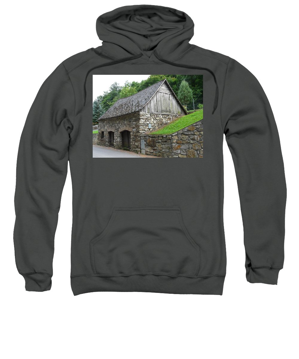Old Sweatshirt featuring the photograph Old Austrian Barn by Valerie Ornstein