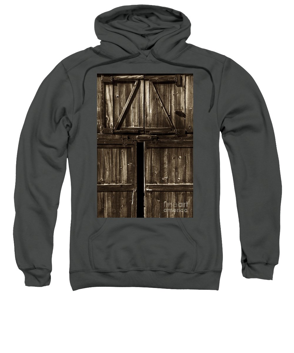 Barn Sweatshirt featuring the photograph Old Barn Door - Toned by Paul W Faust - Impressions of Light