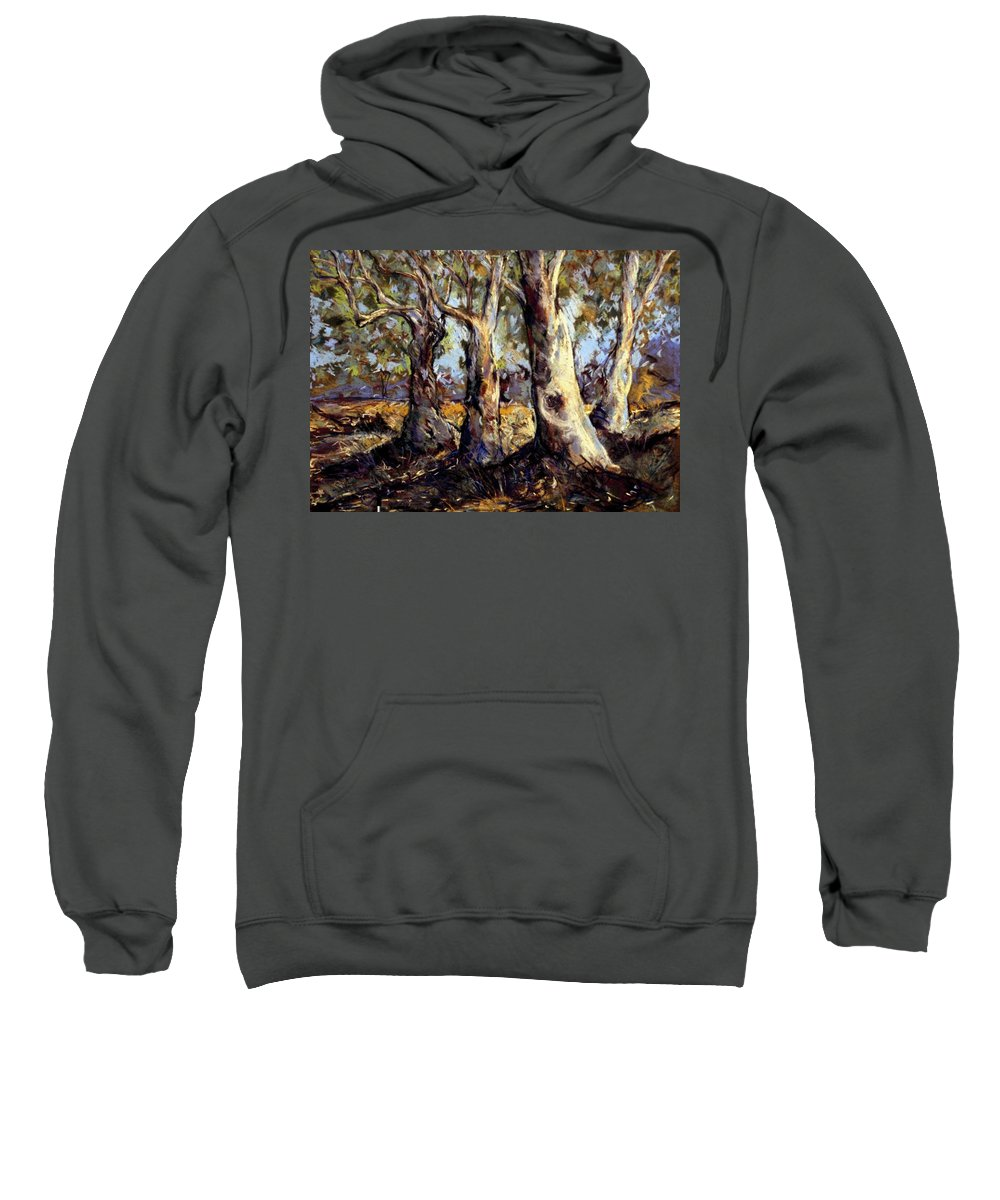 Trees Sweatshirt featuring the painting Old Boys Club by Georgia Mansur