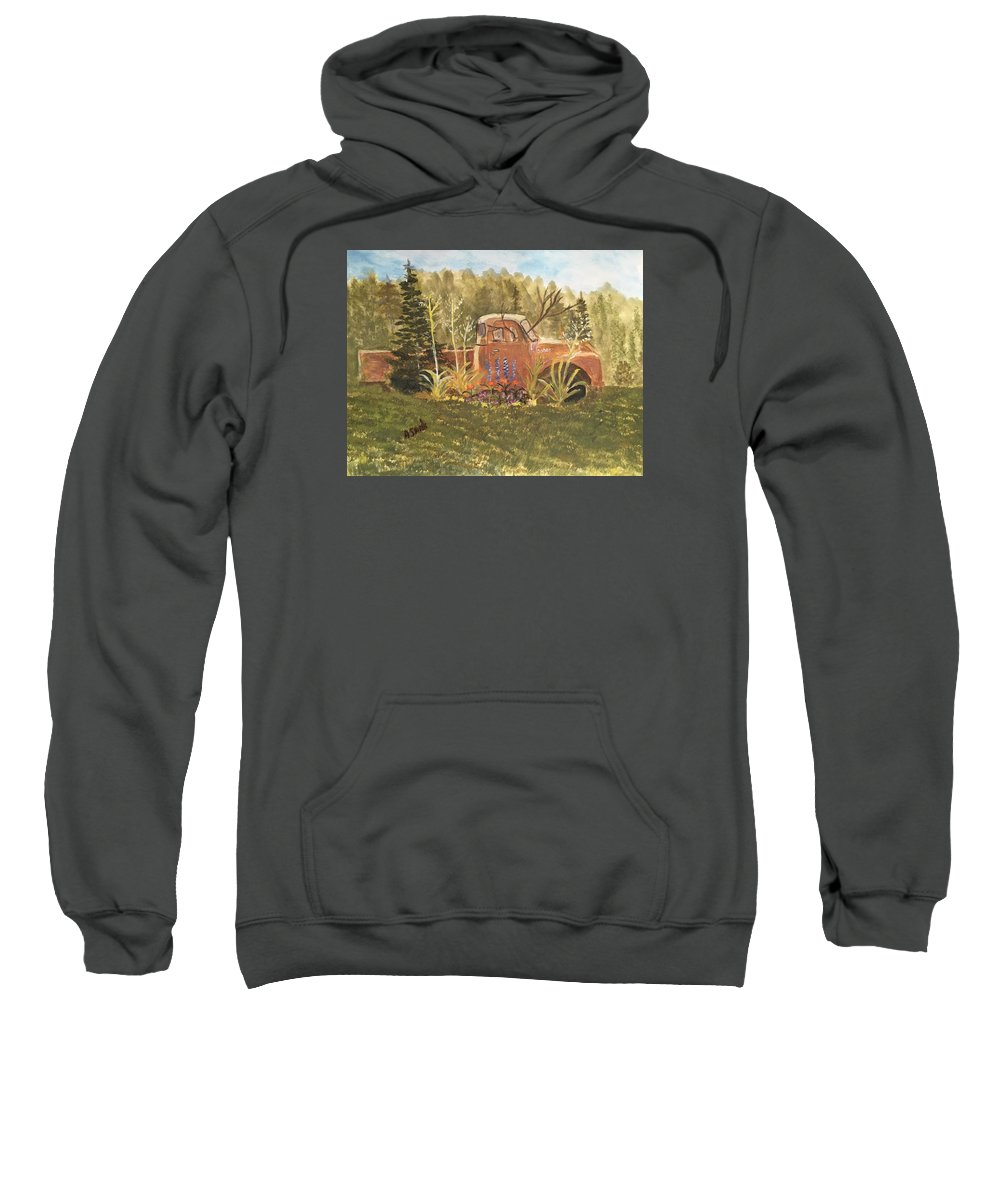 Old Dodge Truck Rusty Flower Garden Sweatshirt featuring the painting Old Dodge Truck In Garden by Anne Sands