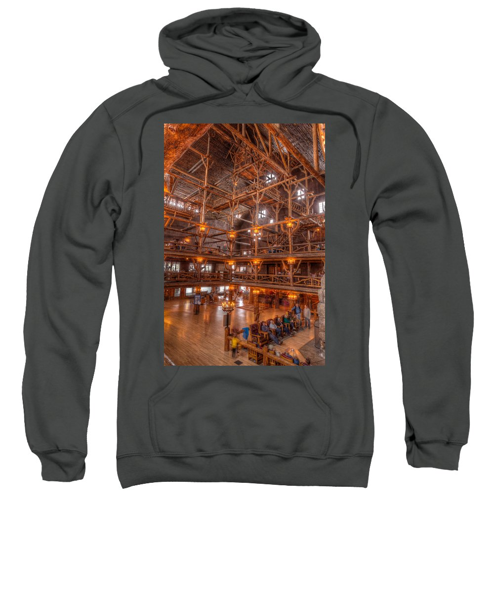 Yellowstone Sweatshirt featuring the photograph Old Faithful Lodge by Steve Gadomski
