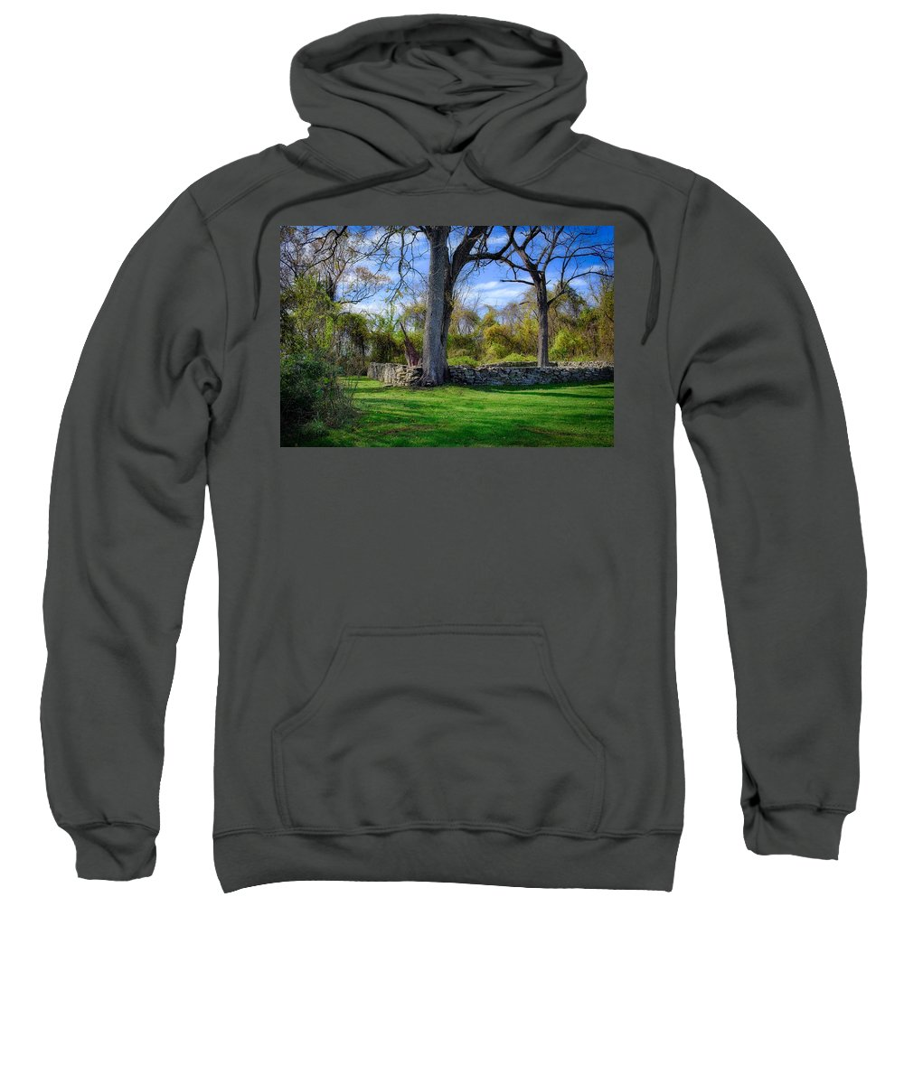 Cromwell Sweatshirt featuring the photograph Old Family Plot In Cromwell Valley Park by Doug Swanson