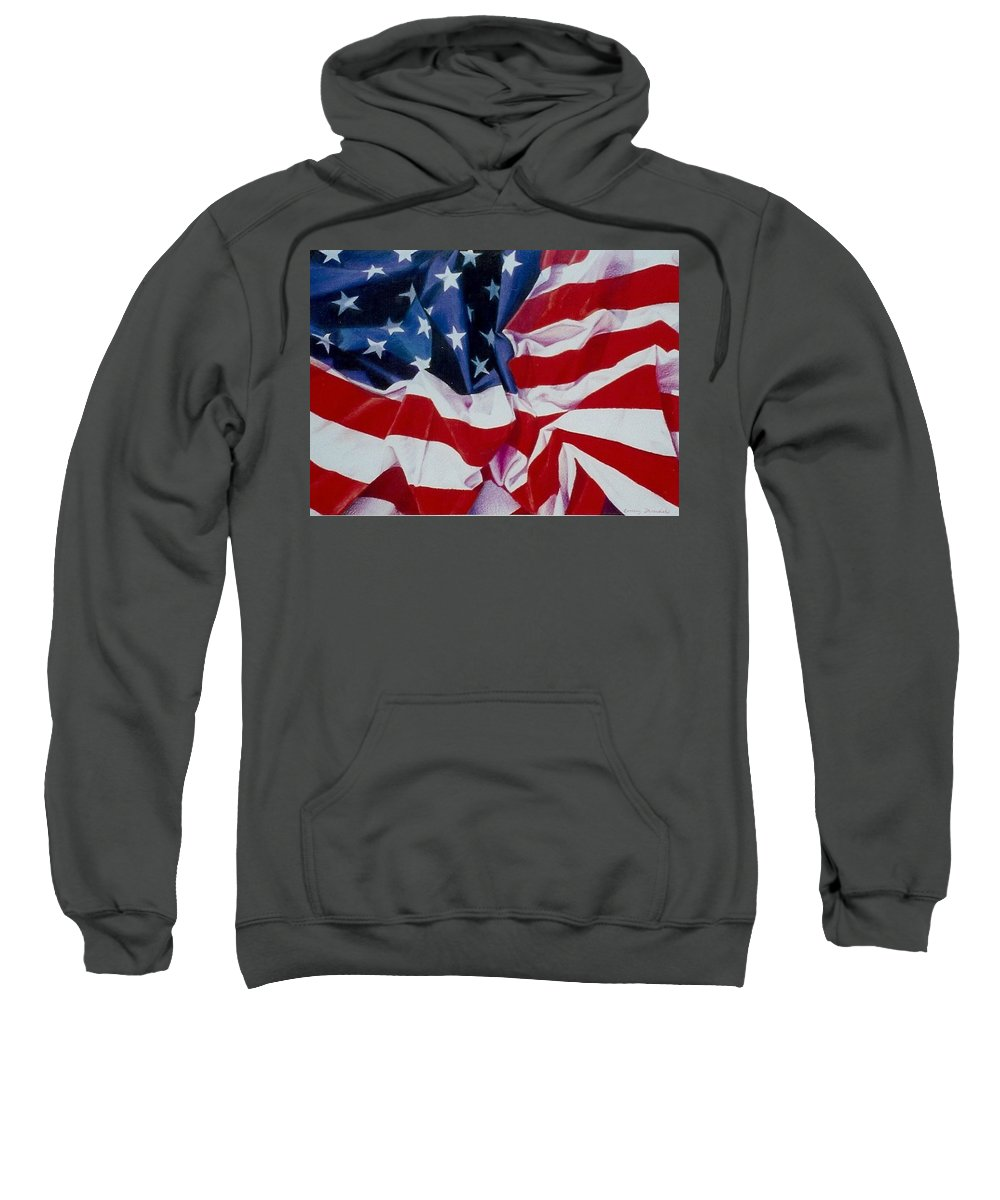 Red Sweatshirt featuring the painting Old Glory 1 by Constance Drescher