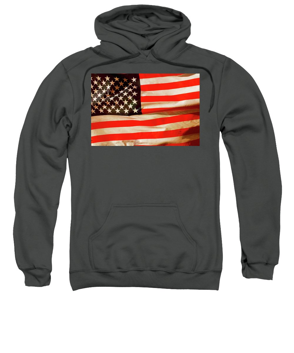 Old Sweatshirt featuring the photograph Old Glory Flag In Breeze by Phill Petrovic