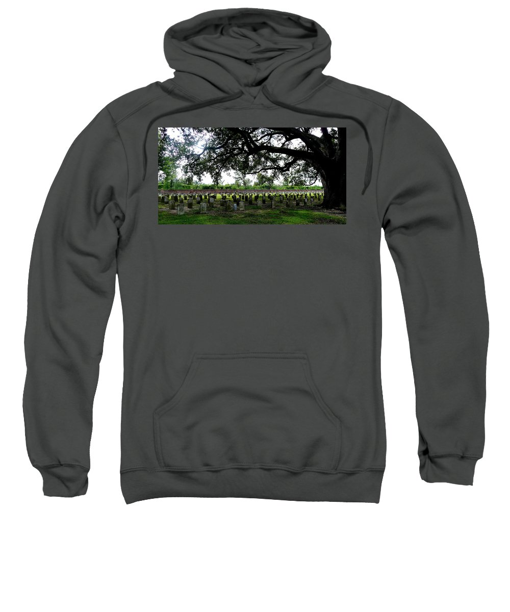 Live Oak Grave Yard Confederate Louisiana Sweatshirt featuring the photograph Old Graveyard Framed By Live Oak by Angie Covey