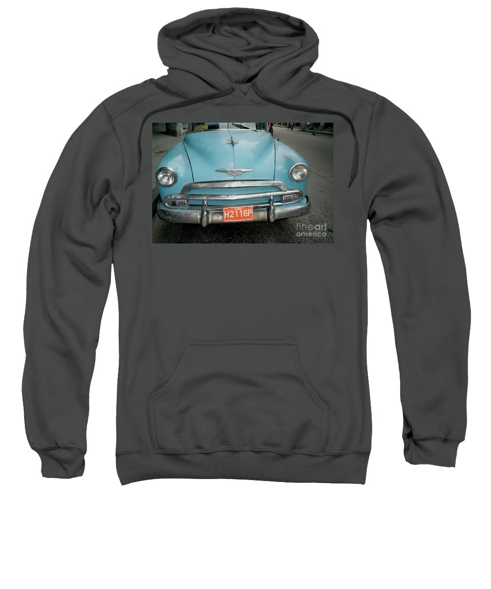 Taxi Sweatshirt featuring the photograph Old Havana Cab by Quin Sweetman