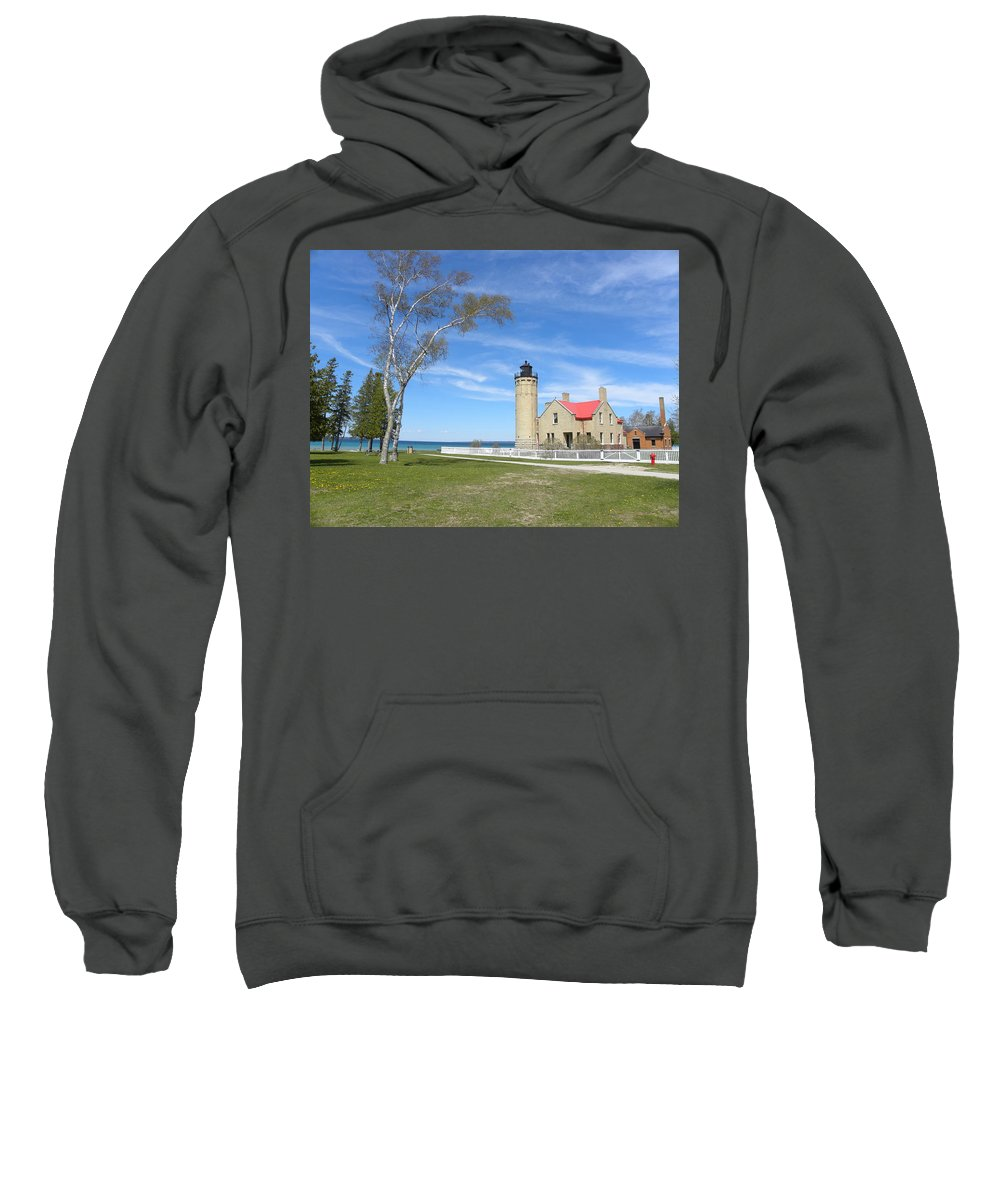 Lighthouse Sweatshirt featuring the photograph Old Mackinaw Point Light by Donna and Neil Cooper