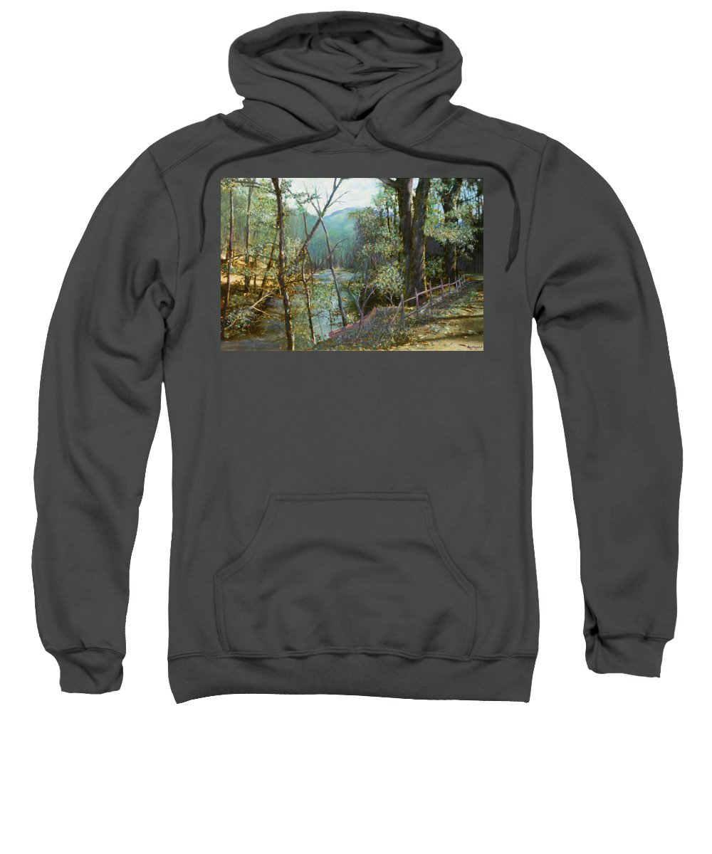 River; Trees; Landscape Sweatshirt featuring the painting Old Man River by Ben Kiger