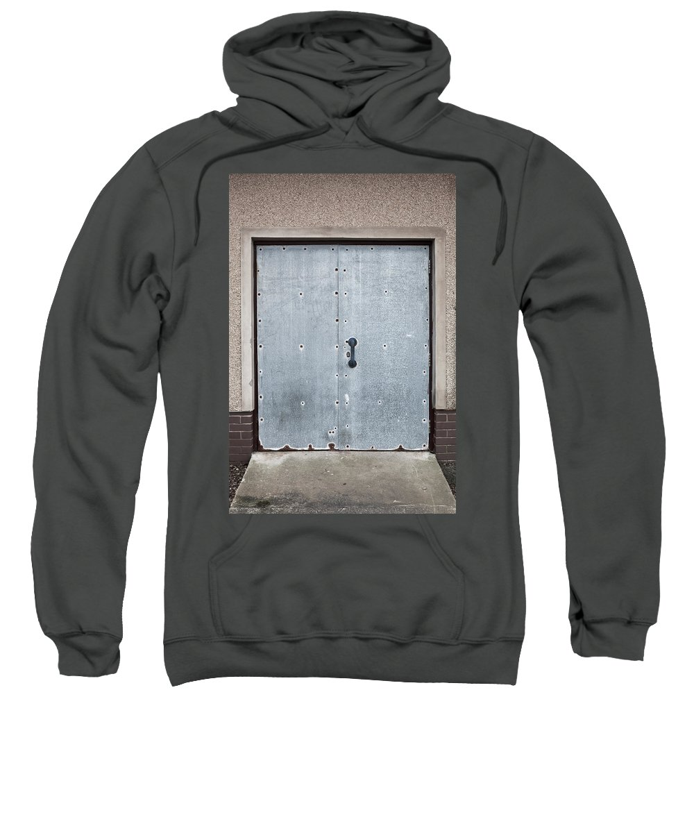 Architectural Sweatshirt featuring the photograph Old Metal Door by Tom Gowanlock