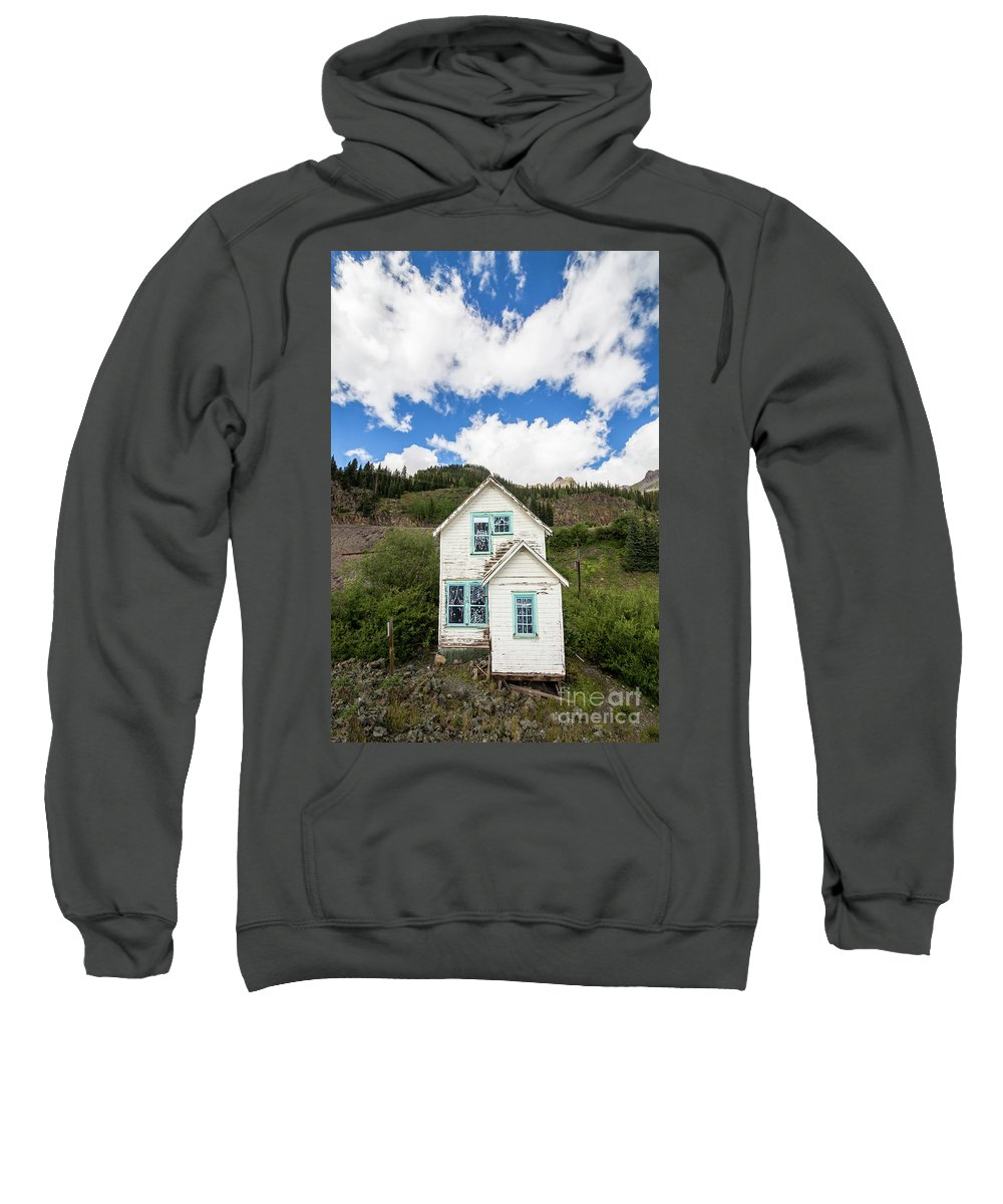 Colorado Landscape Photography Sweatshirt featuring the photograph Old Mining Home In Silverton by Twenty Two North Photography