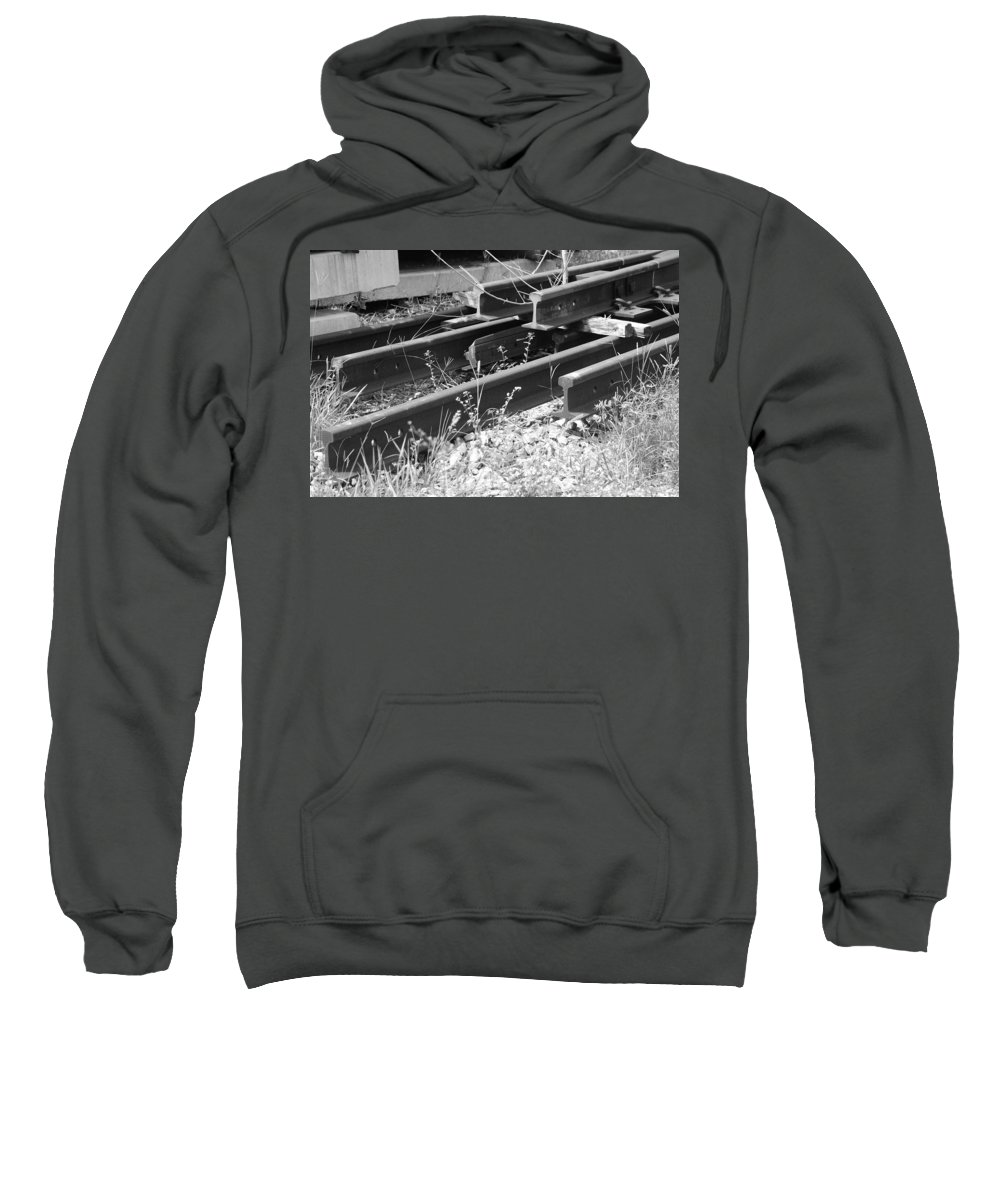 Black And White Sweatshirt featuring the photograph Old Rails by Rob Hans