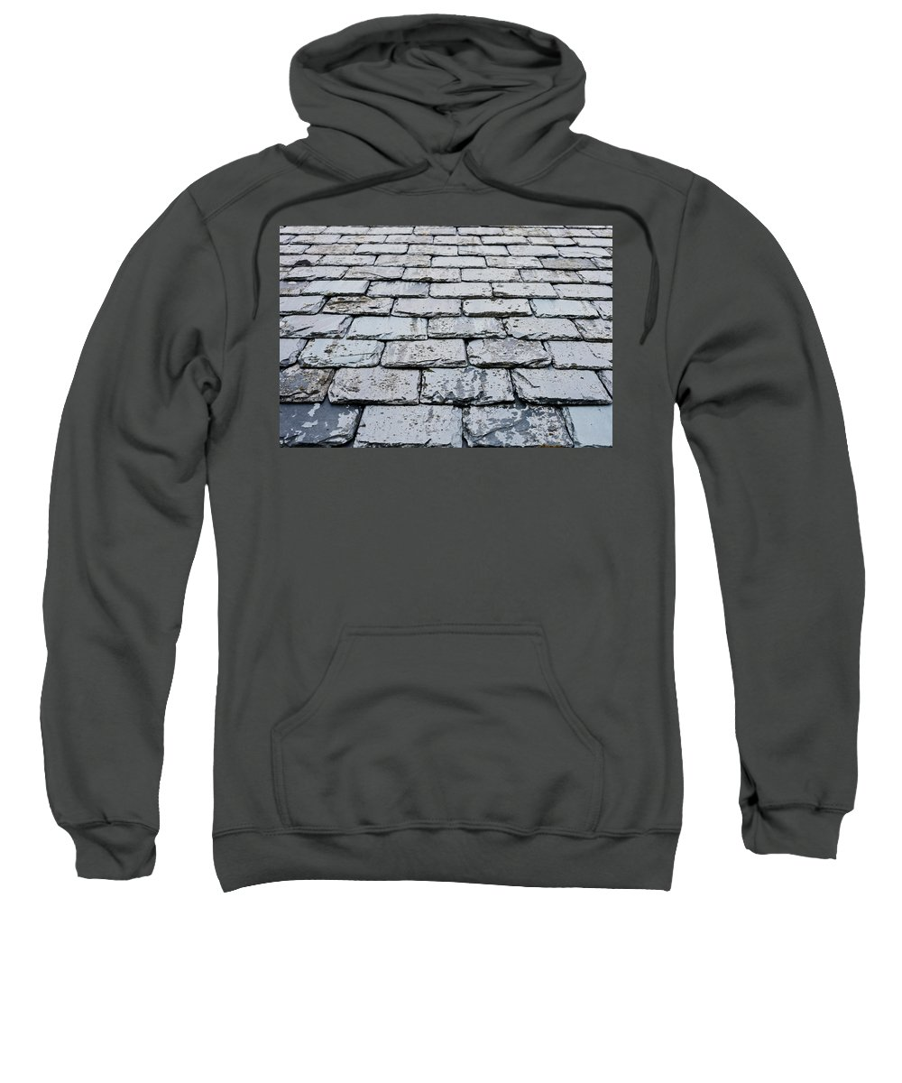 Abstract Sweatshirt featuring the photograph Old Slate Tiles by Tom Gowanlock