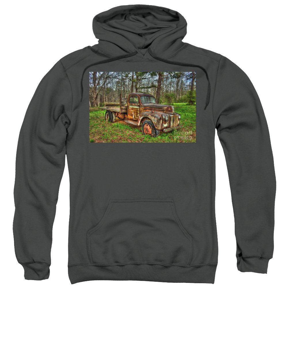 Reid Callaway 1947 Ford Stakebed Pickup Truck Sweatshirt featuring the photograph Old Still Art 1947 Ford Stakebed Pickup Truck Ar by Reid Callaway