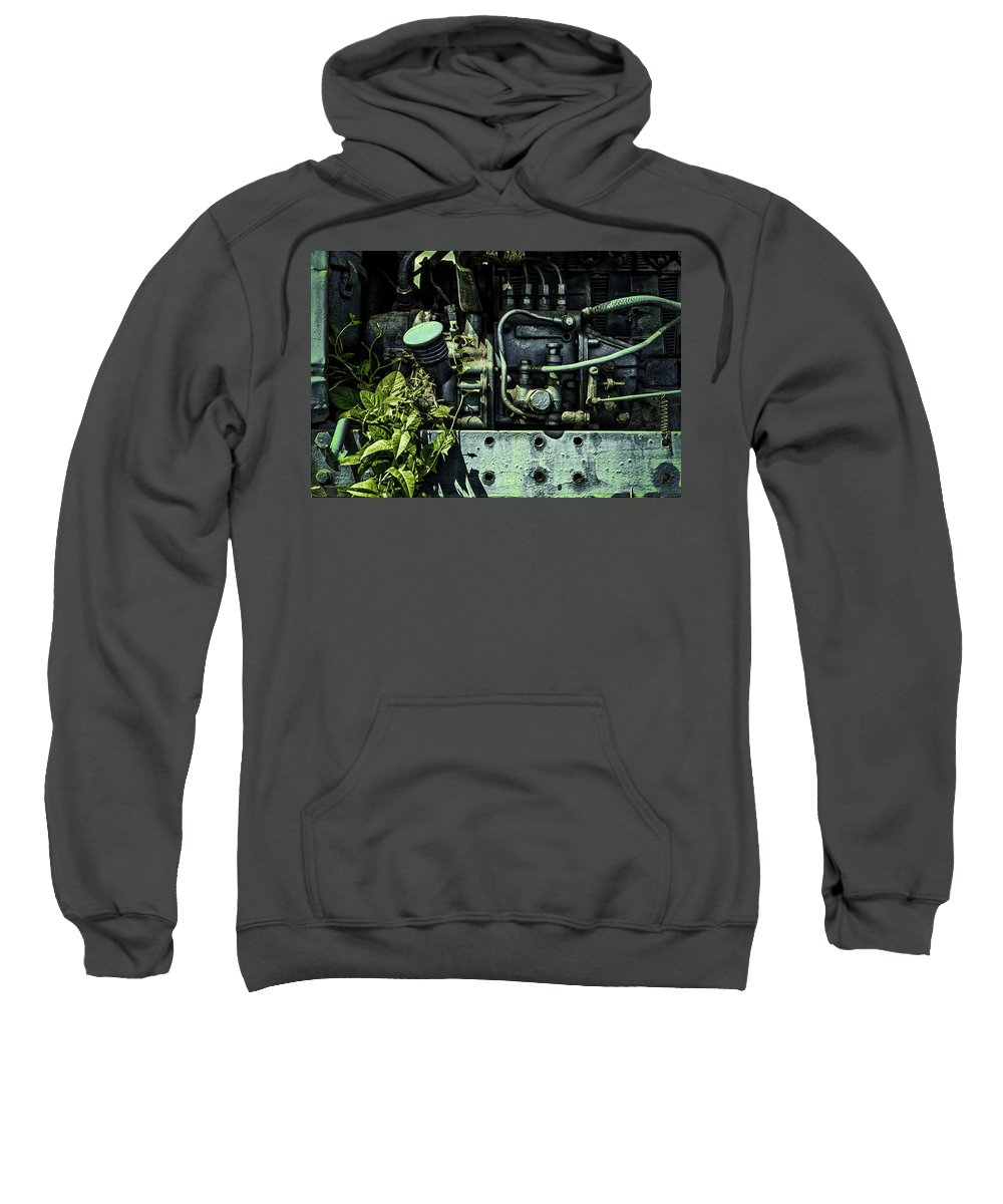 Old Tractor Engine Sweatshirt featuring the photograph Old Tractor Weed Engine In Blue by John Williams