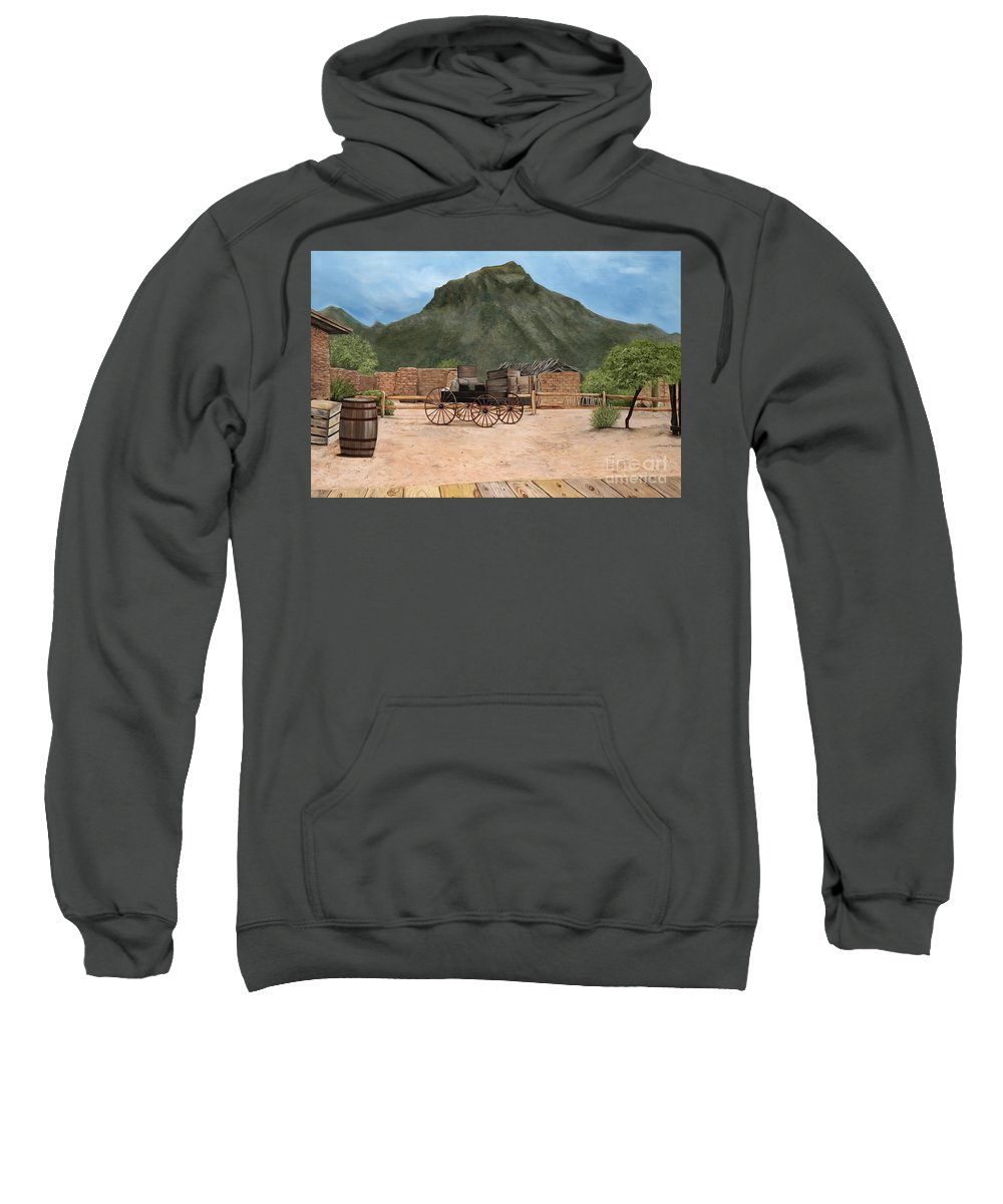 Art Sweatshirt featuring the painting Old Tucson by Mary Rogers