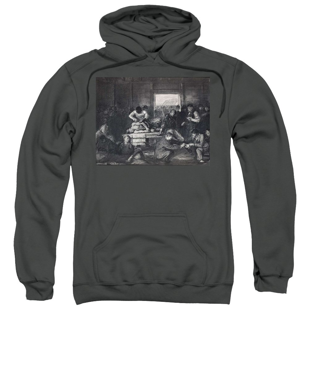 Man Sweatshirt featuring the painting Old Varsity Men Break In And Give Advice, First State By George Bellows by George Bellows