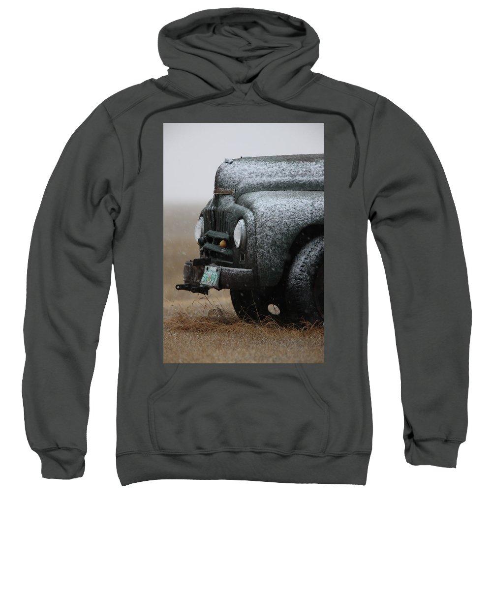 Truck Sweatshirt featuring the digital art Old Vintage Truck In Winter Storm Saskatchewan by Mark Duffy
