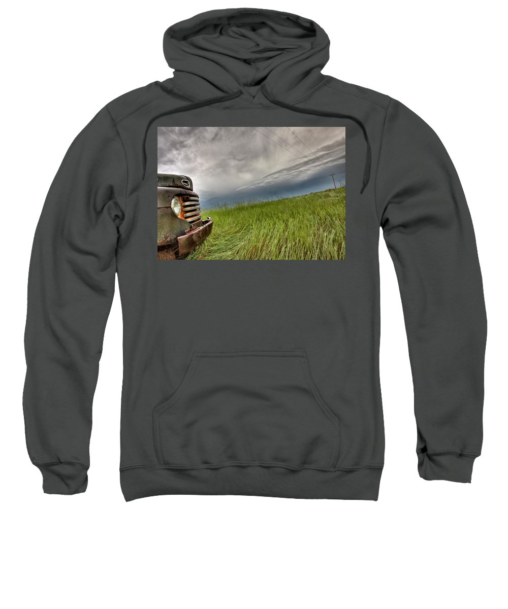 Transportation Sweatshirt featuring the photograph Old Vintage Truck On The Prairie by Mark Duffy