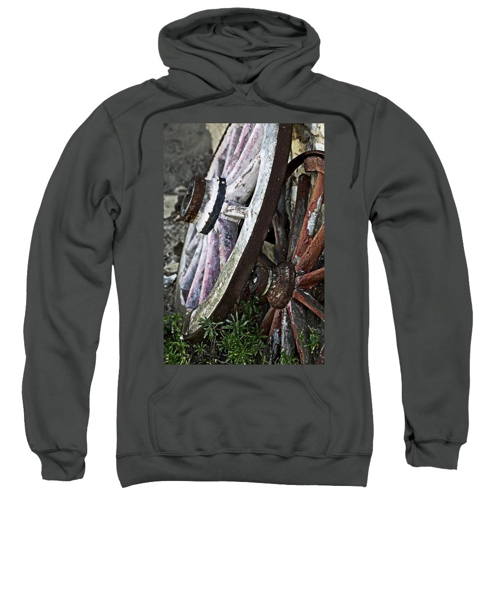 Old Sweatshirt featuring the photograph Old Wagon Wheels by Marilyn Hunt