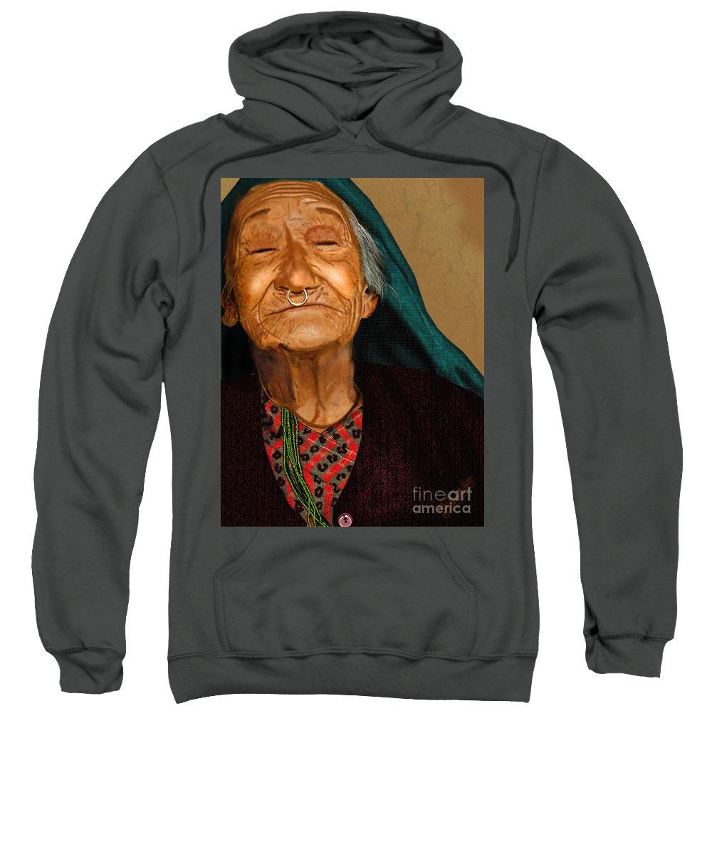 Acrylic Sweatshirt featuring the digital art Old Women by Artist Nandika Dutt