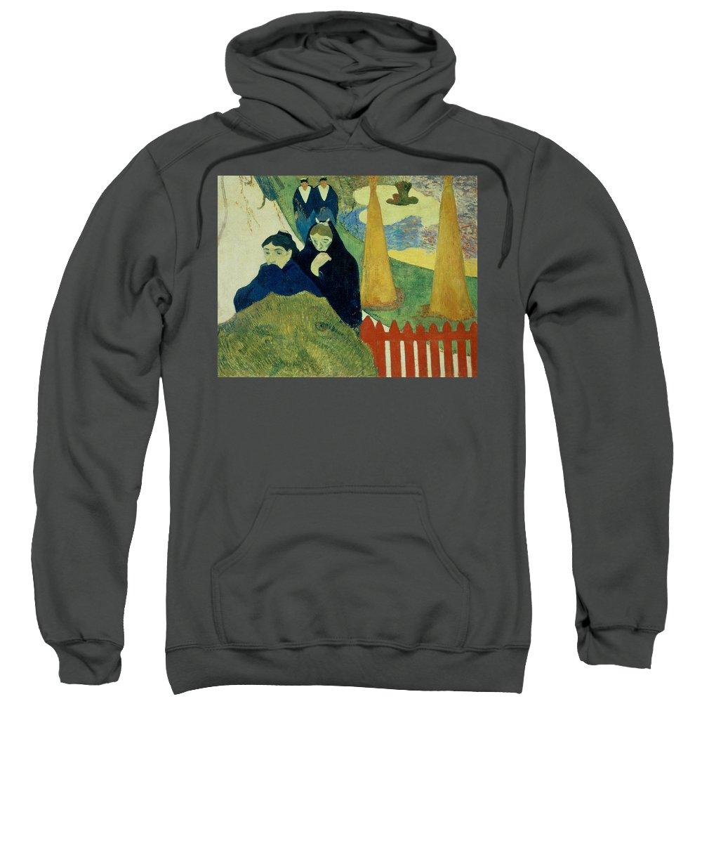 Old Women Of Arles Sweatshirt featuring the painting Old Women Of Arles by Paul Gauguin