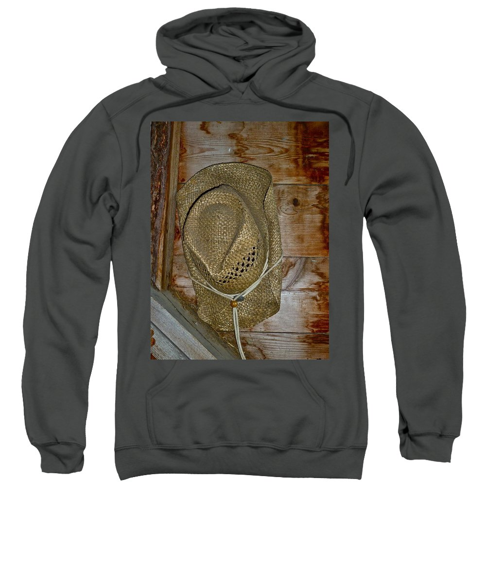 Hat Sweatshirt featuring the photograph Old Work Hat by Diana Hatcher